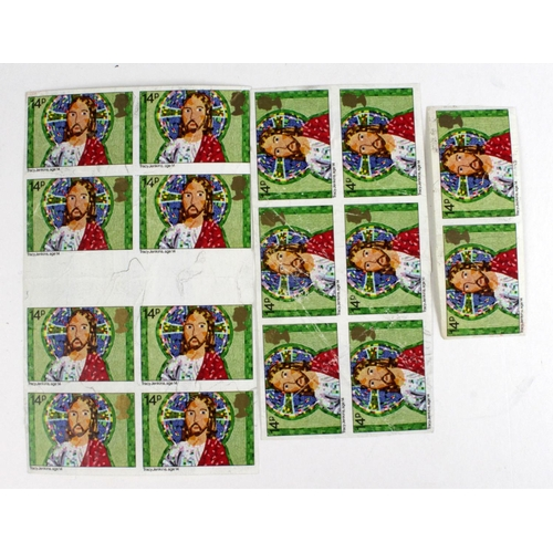 2396 - GB - Errors - 1981 Christmas 14p SG1171 imperf blocks of 8 and 6, plus one pair. Heavy creasing, no ...