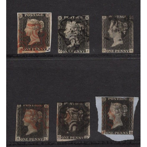 2412 - GB 1840 1d Penny Black, a selection with all different corner letter combinations, mixed condition (...