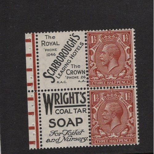 2421 - GB 1924 Block Cypher 1½d two stamps plus two printed labels ex booklet pane SG.420d, inc selvage and...