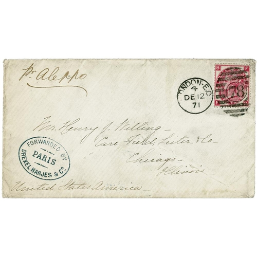 2431 - GB postal history 1870 3d Plate 6, SG.103, on cover to Chicago with 1871 London EC 78 postmark, endo...