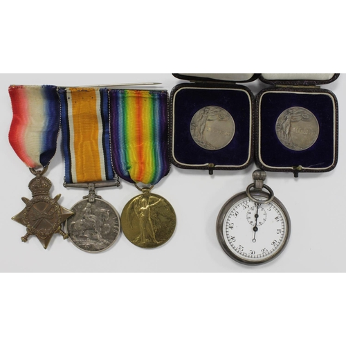 30 - 1915 Star Trio to 54392 Cpl E A Chesnutt RE. Served with Motor Cycle Section RE , 14 C.H.Q. Signal C...