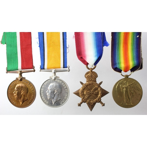 32 - 1915 Star Trio to 78162 Pnr A F A Hall RE and Mercantile Marine Medal named Albert F.A. Hall. Born S...
