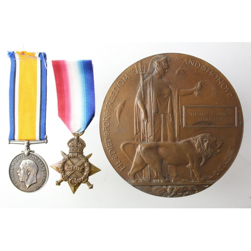 39 - 1915 Star, BWM and Death Plaque to 4-7935 Pte Thomas Bowman Robertson 1st Bn West Yorks Regt. Killed...