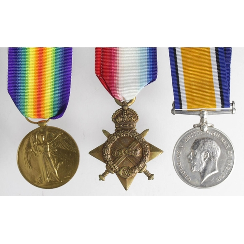 42 - 1915 Trio to 20455 Pte George Henry Line, 9th Bn Suffolk Regt. KIA 16.09.16 at The Quadrilateral, Ba...