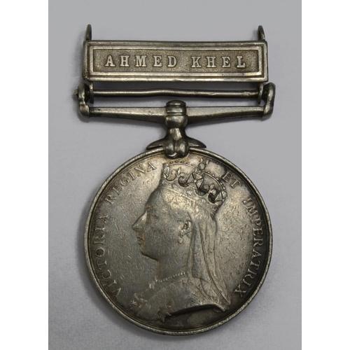 51 - Afghanistan Medal 1881 with Ahmed Khel clasp named Sepoy Gungatiam 4th Punjab Infy.  Fine...