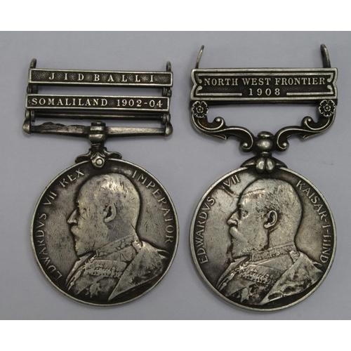 59 - Africa General Service Medal EDVII with bars Somaliland 1902-4 and Jidballi named 1954 Sepoy Bali Ra...