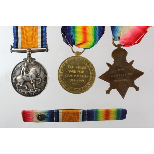 7 - 1914 Star Trio to 2615 Pte G F Fickling 1/Herts R. Entitled to the Clasp & Rosette.   (3)...