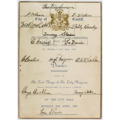 840 - Cardiff City FC - 1927 FA Cup Final - City of Cardiff Dinner Menu given by the Mayor and Mayoress 25...