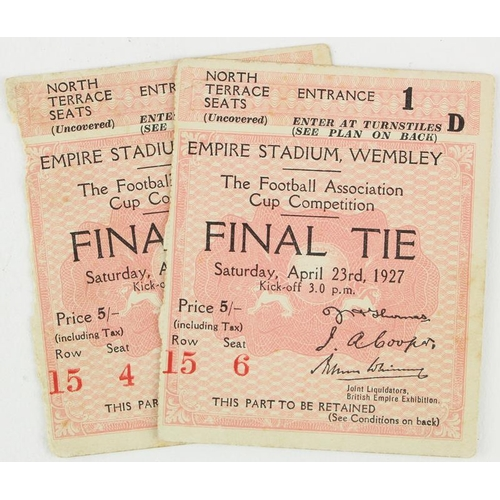 848 - Cardiff City FC - 1927 FA Cup Final Tickets Arsenal v Cardiff City 23rd April 1927, North Terrace Se...