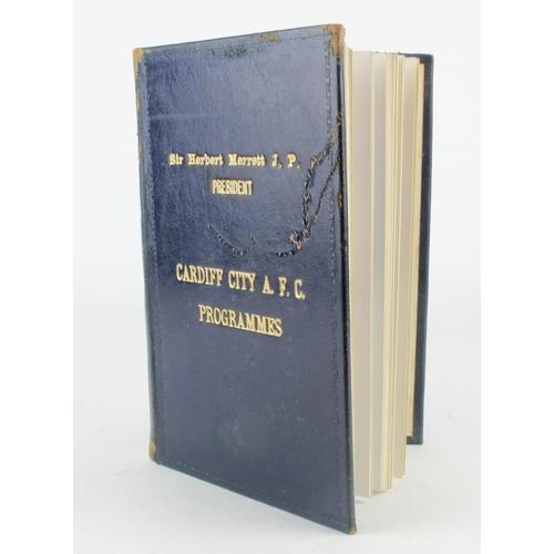 860 - Cardiff City FC - Bound 1952-1953 season programmes, from cover named 'Sir Herbert Merrett J.P. Pres...