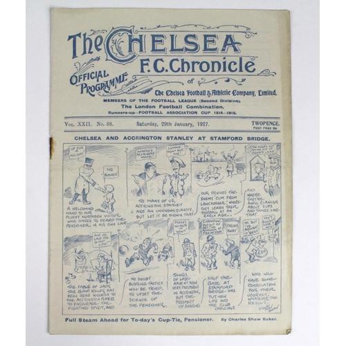 875 - Chelsea v Accrington Stanley 29th Jan 1927...