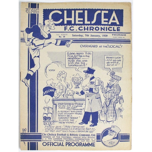 881 - Chelsea v Arsenal F A Cup 3rd Rnd 7th Jan 1939...
