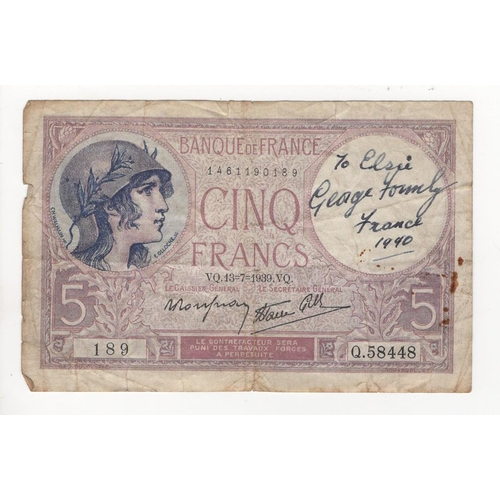 2 - Autographed Banknote, France 5F dated 13/7/1939 signed