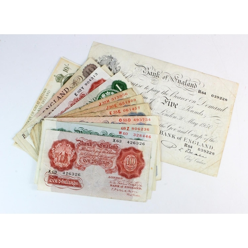 27 - Bank of England & Treasury (22), including Beale white 5 Pounds dated 1950, Warren Fisher 10 Shillin...