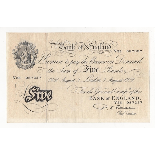 40 - Beale 5 Pounds dated 3rd August 1951, serial V35 087337, (B270, Pick344) lightly toned paper, number...