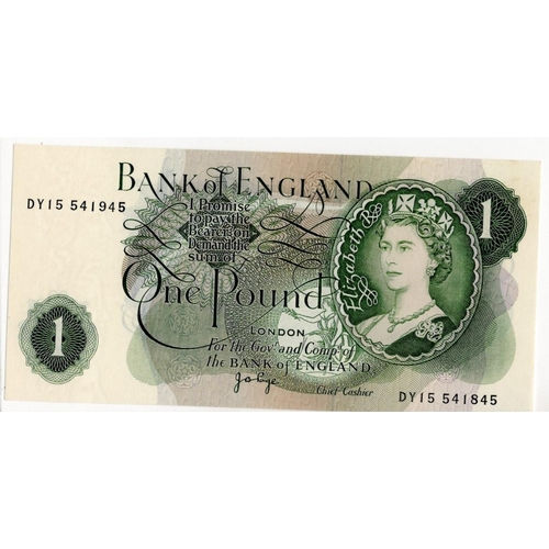 50 - ERROR Page 1 Pound issued 1970, mismatched serial numbers DY15 541945 & DY15 541845, (B322, Pick374g...