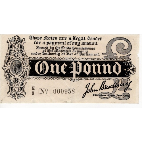 6 - Bradbury 1 Pound issued 1914, LOW serial number E/9 000958, (T3.3, Pick347) light edge damage to 2 s...