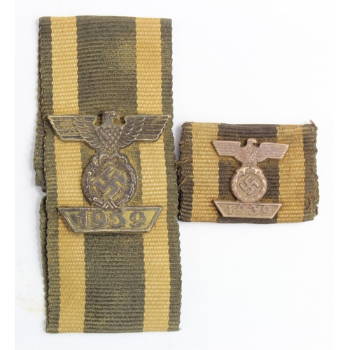 1005 - WW2 German 2nd Class Spange on Imperial German Button Hole Ribbon & and 2nd class Spange on medal ba...