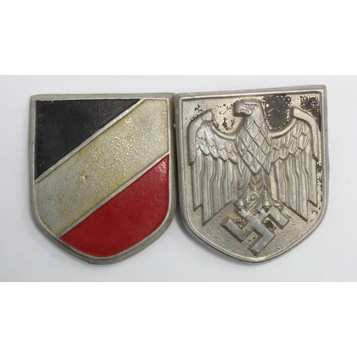 1008 - WW2 German Africa Corps Tropical Helmet Badges....