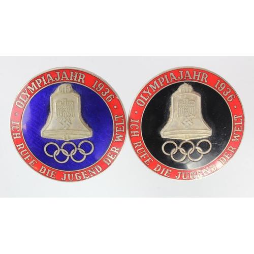1011 - WW2 German Blue Enamel & Black Enamel 1936 Olympics Badges - Olympia 1936,
