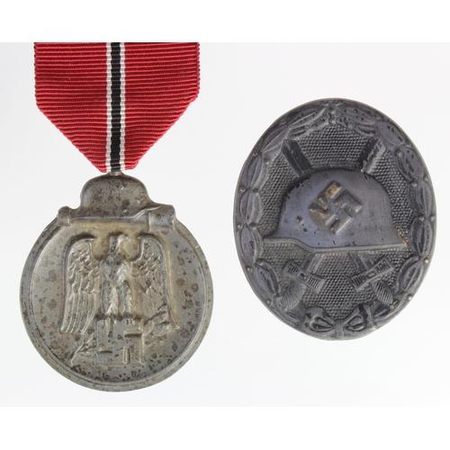 1015 - WW2 German Eastern Front Medal & Black Wound Badge....