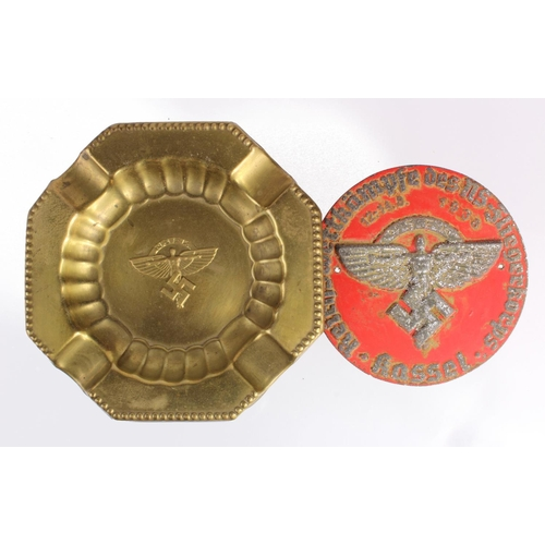 1026 - WW2 German N.S.F.K Ashtray along with a WW2 Style N.S.F.K Plaque. Nationalsozialistisches Fliegerkor...