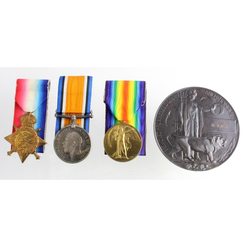 12 - 1914 Star Trio (entitled to the Aug-Nov clasp) to 13549 Sjt B East 1/Grenadier Guards. Died 31 Oct 1...