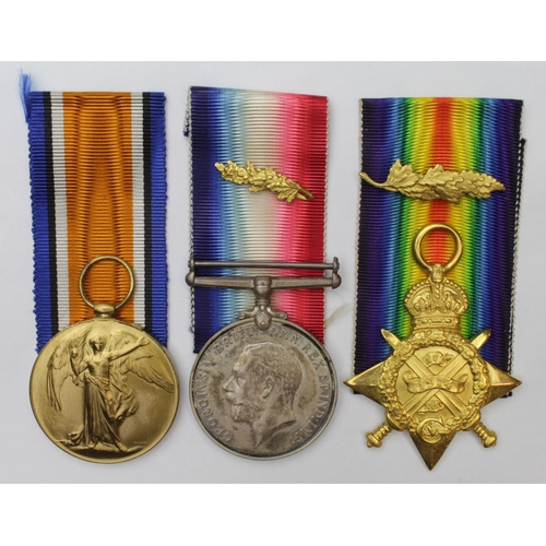 13 - 1914 Star Trio (Star has been gold plated) to MS-3604 Dvr C A Gough ASC. Served with 19th Infy Bde H...