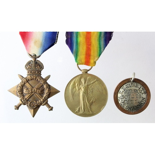 17 - 1915 Star and Victory Medal to 307278 E E Everitt S.P.O.RN. Plus 1915 Penny Coin made into an ID Tag...