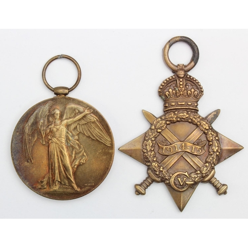 19 - 1915 Star and Victory Medal to PW-2758 L.Cpl J T Wells Middlesex Regt. Killed In Action 13th Oct 191...