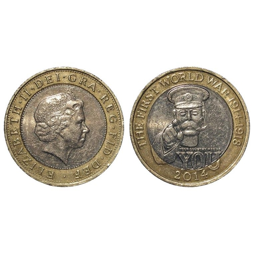 2165 - Error Mule Two Pounds 2014 'The First World War 1914-1918' K34 with the obverse of K33 or similar, w...