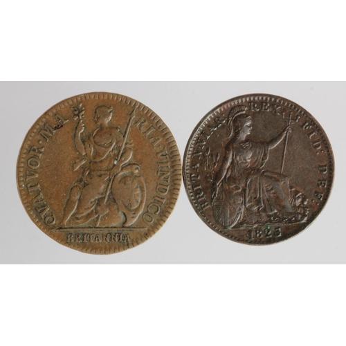 2166 - Farthing 1665 Charles II copper pattern GF, plus Farthing 1823 VF
