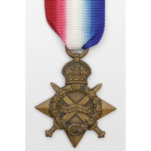 34 - 1915 Star to 4654 Pte R Givans Border Regt. Killed In Action 12/3/1915 with the 2nd Bn. Born Sunderl...