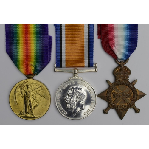 47 - 1915 Star Trio to 334 Pte F Thompson Durham L.I. (BWM is a named replica). Killed In Action 26/4/191...