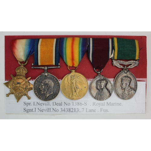49 - 1915 Star Trio to DEAL 1386-S- Spr I Nevill RM. 1935 Silver Jubilee Medal, and GV Efficiency Medal w...