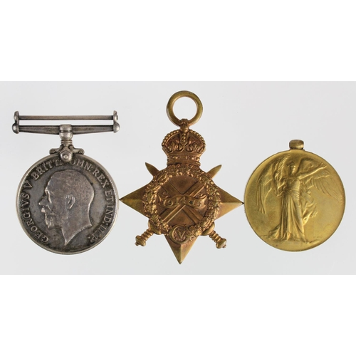 50 - 1915 Star Trio to G-9175 Pte J Roach Middlesex Regt. Ring missing from Victory Medal.  (3)...