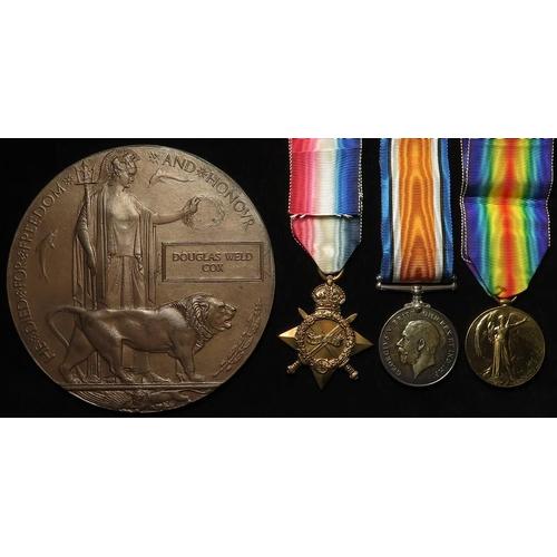 56 - 1915 Star Trio (2.Lieut D W Cox Suffolk Regt) and Death Plaque named Douglas Weld Cox. Died of Wound...