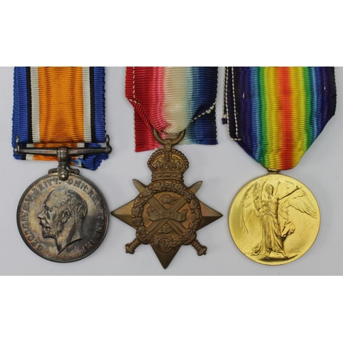 9 - 1914 Star Trio to 530 Pte S Bramall 9/Lrs. Served with