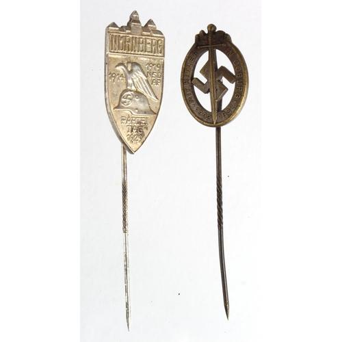 971 - Rare WW2 German Rally stick pins. Nuremburg & Coburg.  (2)...