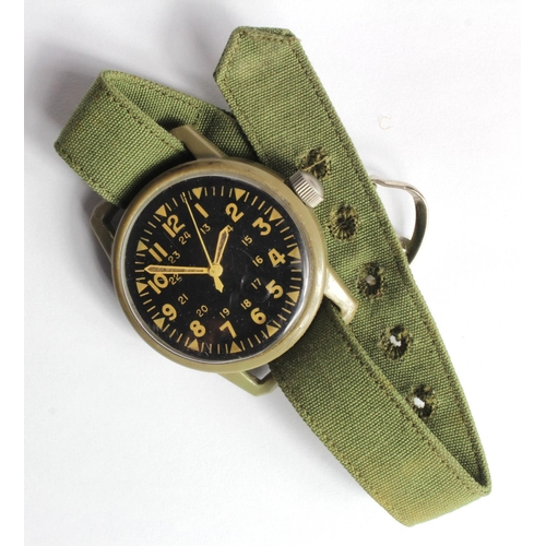 979 - Vietnam War US Army Plastic Westclox Manual Wrist Watch and strap. Working when catalogued...