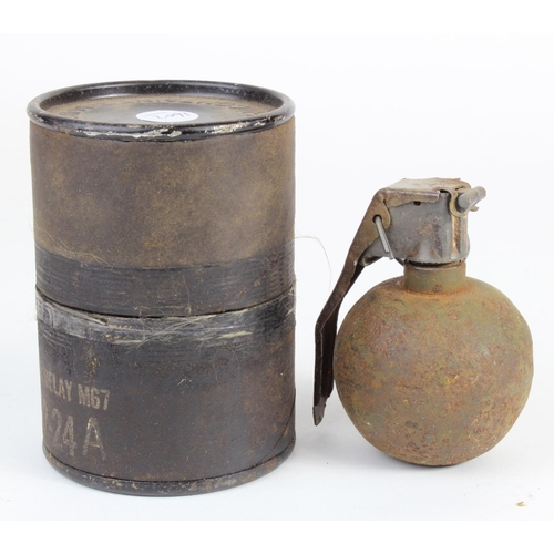 980 - Vietnam War. INERT US M-67 Baseball Grenade and transportation Tube. The idea behind this grenade wa...