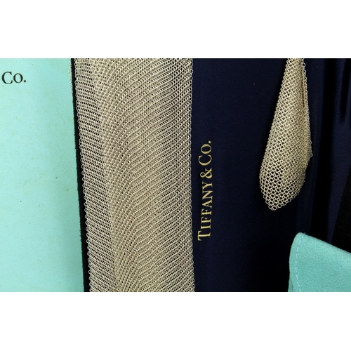 16 - Boxed woven silver mesh scarf necklace & earring set by Elsa Peretti for Tiffany & Co. approx 95cm