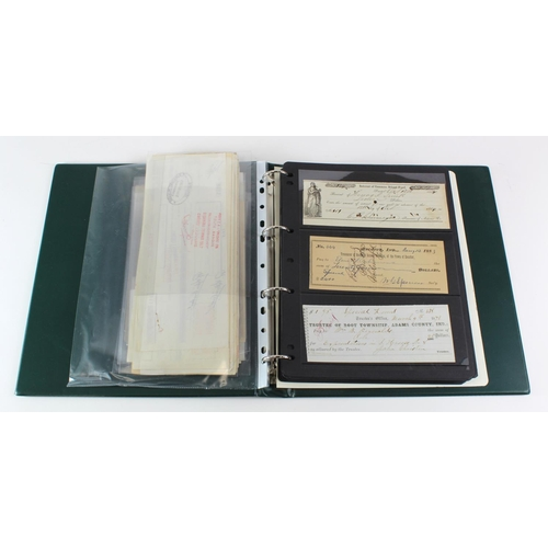 1 - Album of Cheques & Travellers Cheques (75) including SPECIMEN varieties, and a bag of Ephemera (100)...