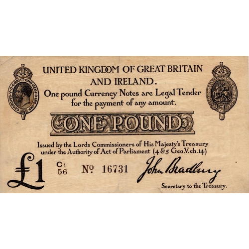 11 - Bradbury 1 Pound issued 1914, serial C1/56 16731 (T11.2, Pick349a) lightly toned paper, pressed good...