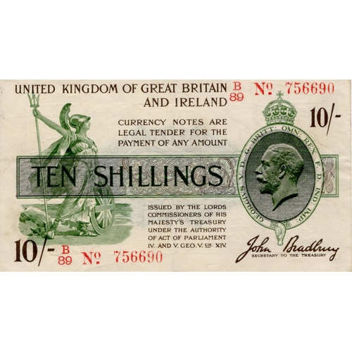 15 - Bradbury 10 Shillings issued 16th December 1918, serial B/89 756690 in red, No. with dash (T20, Pick...