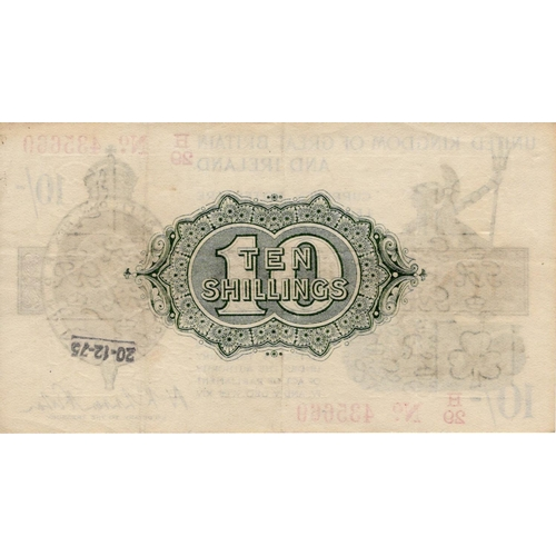 29 - Warren Fisher 10 Shillings issued 1919, rarer LAST SERIES serial H/29 435669, No. with dot (T25, Pic...
