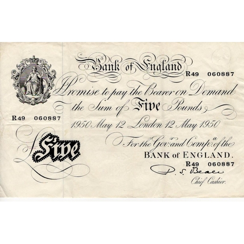 47 - Beale 5 Pounds dated 12th May 1950, serial R49 060887 (B270, Pick344) about VF