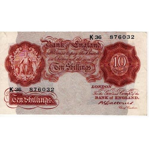 54 - Catterns 10 Shillings issued 1930, LAST SERIES serial K36 876032 (B223, Pick362b) VF to good VF