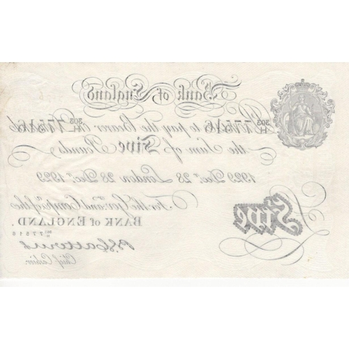 57 - Catterns 5 Pounds dated 28th December 1929, serial 303/H 77516, London issue (B228, Pick328a) cleane...
