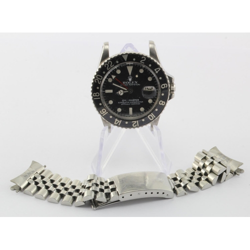 27 - Gents stainless steel cased Rolex GMT-Master with black bezel, marked between the lugs 1675/5152083....